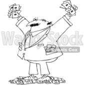 Royalty-Free Vector Clip Art Illustration of a Black And White Rich Man Outline © Dennis Cox #1054297