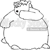 Royalty-Free Vector Clip Art Illustration of a Black And White Scared Groundhog Outline © Dennis Cox #1054298