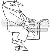Royalty-Free Vector Clip Art Illustration of a Black And White Man Carrying A Gas Can Outline © djart #1054300
