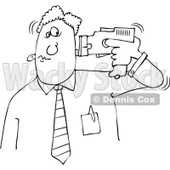 Royalty-Free Vector Clip Art Illustration of a Black And White Man Tasering Himself Outline © djart #1054301