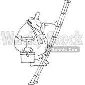 Royalty-Free Vector Clip Art Illustration of a Black And White Man On A Ladder Outline © djart #1054309