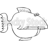 Royalty-Free Vector Clip Art Illustration of a Black And White Fish Outline © Dennis Cox #1054311