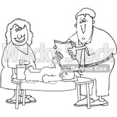 Royalty-Free Vector Clip Art Illustration of a Black And White Father Changing A Baby Diaper Outline © Dennis Cox #1054315