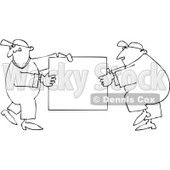 Royalty-Free Vector Clip Art Illustration of a Black And White Sign Movers Outline © Dennis Cox #1054317