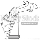 Royalty-Free Vector Clip Art Illustration of a Black And White Men Installing Solar Panels Outline © djart #1054318