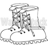 Royalty-Free Vector Clip Art Illustration of a Black And White Boots Outline © djart #1054319