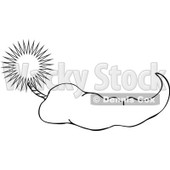 Royalty-Free Vector Clip Art Illustration of a Black And White Pepper And Fuse Outline © djart #1054321