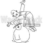 Royalty-Free Vector Clip Art Illustration of a Black And White Groundhog Holding A Man Outline © djart #1054325