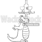 Royalty-Free Vector Clip Art Illustration of a Black And White Alligator Serving Wine © Dennis Cox #1054326