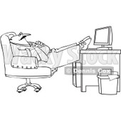 Royalty-Free Vector Clip Art Illustration of a Black And White Man Sleeping At Work Outline © djart #1054327