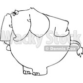 Royalty-Free Vector Clip Art Illustration of a Black And White Mad Elephant Outline © Dennis Cox #1054330