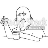 Royalty-Free Vector Clip Art Illustration of a Black And White Grumpy Smoker With Coffee Outline © djart #1054335
