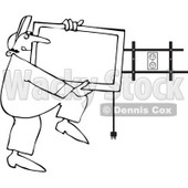 Royalty-Free Vector Clip Art Illustration of a Black And White TV Installer Outline © djart #1054339