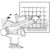 Royalty-Free Vector Clip Art Illustration of a Black And White Man Writing On A Calendar Outline © Dennis Cox #1054342