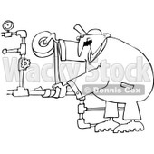 Royalty-Free Vector Clip Art Illustration of a Black And White Plumber Duct Taping Pipes Outline © Dennis Cox #1054345