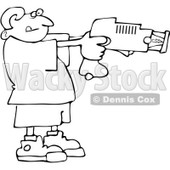Royalty-Free Vector Clip Art Illustration of a Black And White Boy Using A Taser Outline © Dennis Cox #1054347