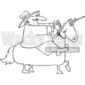 Royalty-Free Vector Clip Art Illustration of a Black And White Leprechaun On A Unicorn Outline © djart #1054348