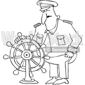 Royalty-Free Vector Clip Art Illustration of a Black And White Captain And Wheel Outline © Dennis Cox #1054349
