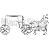 Royalty-Free Vector Clip Art Illustration of a Black And White Amish Buggy Outline © djart #1054351