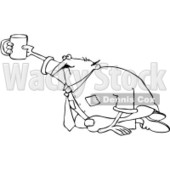 Royalty-Free Vector Clip Art Illustration of a Black And White Begging Man Outline © djart #1054352