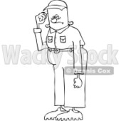 Royalty-Free Vector Clip Art Illustration of a Black And White Tall Man In Short Pants Outline © djart #1054353