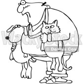 Royalty-Free Vector Clip Art Illustration of a Black And White Man Holding A Dog And Cat Outline © djart #1054360