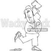 Royalty-Free Vector Clip Art Illustration of a Black And White Man Stepping In Poop Outline © Dennis Cox #1054361