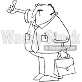 Royalty-Free Vector Clip Art Illustration of a Black And White Hitchhiking Businessman Outline © Dennis Cox #1054367