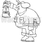 Royalty-Free Vetor Clip Art Illustration of a Coloring Page Outline Of A Female Worker Holding A Lantern © djart #1055080