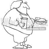 Royalty-Free Vetor Clip Art Illustration of a Coloring Page Outline Of A Fat Woman Eating Fast Food © djart #1055082