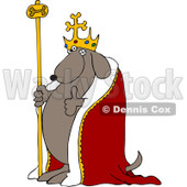 Royalty-Free Vetor Clip Art Illustration of a Dog King Holding A Thumb Up © Dennis Cox #1055085
