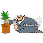 Royalty-Free Vetor Clip Art Illustration of a Man Growing Pot © Dennis Cox #1055086