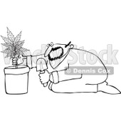 Royalty-Free Vetor Clip Art Illustration of a Coloring Page Outline Of A Man Growing Pot © djart #1055088