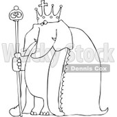 Royalty-Free Vetor Clip Art Illustration of a Coloring Page Outline Of An Elephant King © djart #1055089