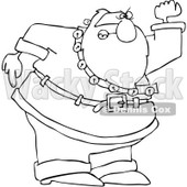 Royalty-Free Vetor Clip Art Illustration of a Coloring Page Outline Of A Mad Santa © djart #1055093