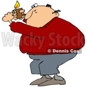 Royalty-Free Vetor Clip Art Illustration of a Man Lighting A Pipe © djart #1055098