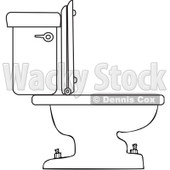 Royalty-Free Vector Clip Art Illustration of a Coloring Page Outline Of A Toilet © djart #1055592