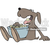 Royalty-Free Vector Clip Art Illustration of a Dog Eating Popcorn © Dennis Cox #1055593