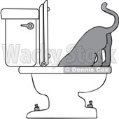 Royalty-Free Vector Clip Art Illustration of a Cat Drinking From A Toilet © Dennis Cox #1055595