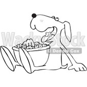 Royalty-Free Vector Clip Art Illustration of a Coloring Page Outline Of A Dog Eating Popcorn © Dennis Cox #1055597
