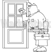 Royalty-Free Vector Clip Art Illustration of a Coloring Page Outline Of A Worker Man Knocking On A Door © djart #1055598
