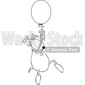 Royalty-Free Vector Clip Art Illustration of a Coloring Page Outline Of A Dog Floating Away With A Balloon © djart #1055601