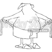 Royalty-Free Vector Clip Art Illustration of a Coloring Page Outline Of A Chubby Man Measuring Around His Waist © djart #1055605
