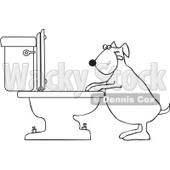 Royalty-Free Vector Clip Art Illustration of a Coloring Page Outline Of A Dog Drinking From A Toilet © djart #1055609