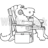 Royalty-Free Vector Clip Art Illustration of a Coloring Page Outline Of An Alligator Sitting In An Adirondack Chair With A Beverage © djart #1055610