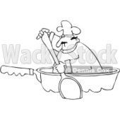 Royalty-Free Vector Clip Art Illustration of a Coloring Page Outline Of A Chef Paddling In A Pan © djart #1055658