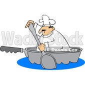 Royalty-Free Vector Clip Art Illustration of a Chef Paddling In A Pan © djart #1055659