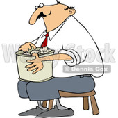 Royalty-Free Vector Clip Art Illustration of a Man Sitting On A Stool And Eating Popcorn © Dennis Cox #1055661