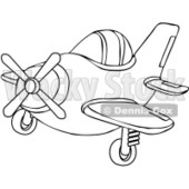 Royalty-Free Vector Clip Art Illustration of a Coloring Page Outline Of A Small Plane © Dennis Cox #1056409