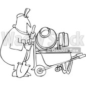 Royalty-Free Vector Clip Art Illustration of a Coloring Page Outline Of A Worker Man Mixing Cement © djart #1056422